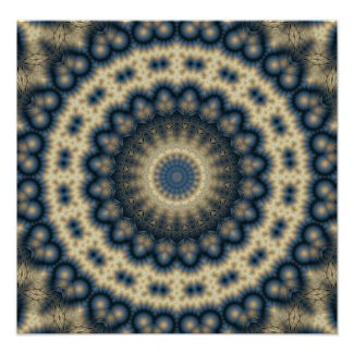Symbolic Blue Native Mandala Poster