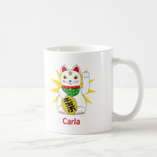 Symbolic Chinese Maneki Neko Good Luck Fortune Cat Coffee Mug
