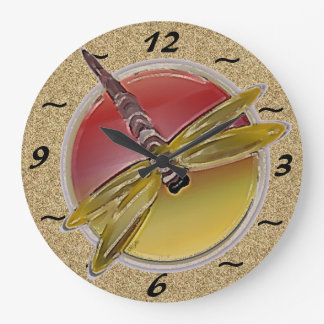 Symbolic Dragonfy with Texture Wall Clock