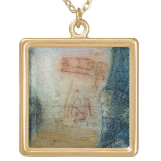 Symbolic figures (cave painting) gold plated necklace