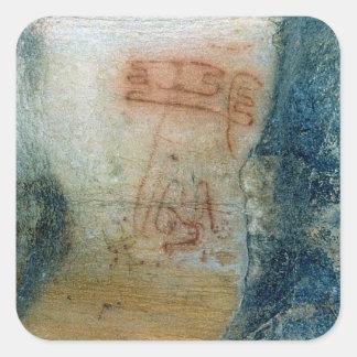 Symbolic figures (cave painting) square sticker