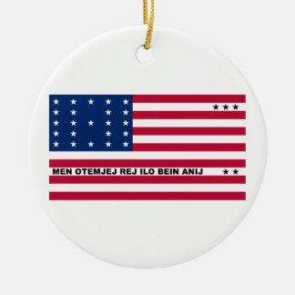Symbolic Flag of Bikini Atoll Marshall Islanders Double-Sided Ceramic Round Christmas Ornament