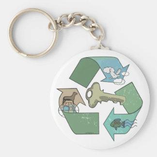 Symbolic Recycling is Key by Mudge Studios Keychain