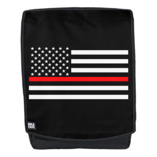 Symbolic Thin Red Line American Flag graphic on a Backpack