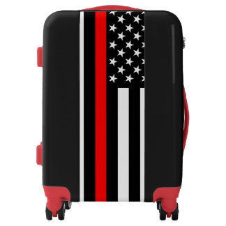 Symbolic Thin Red Line American Flag graphic on a Luggage