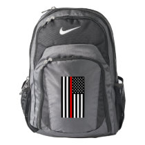 Symbolic Thin Red Line American Flag graphic on a Nike Backpack