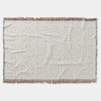 Symbols of Africa on monogrammed throw blanket.