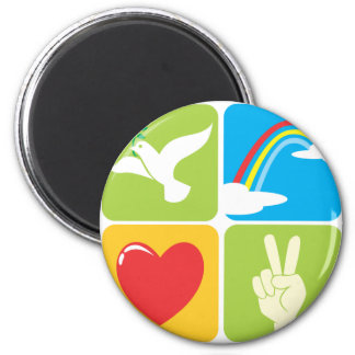 Symbols of Faith Hope Love and Peace 2 Inch Round Magnet