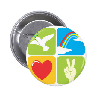 Symbols of Faith Hope Love and Peace 2 Inch Round Button