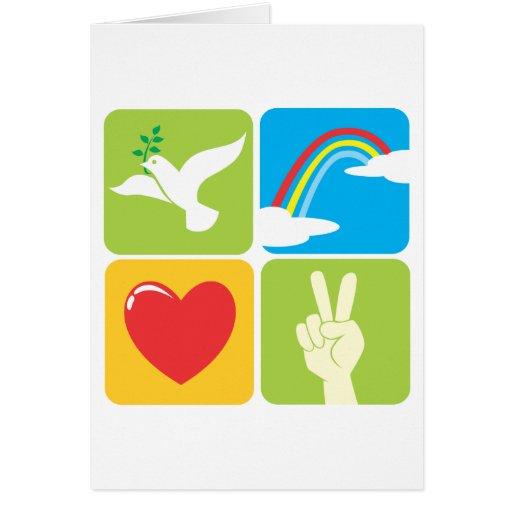 Symbols of Faith Hope Love and Peace Greeting Card | Zazzle