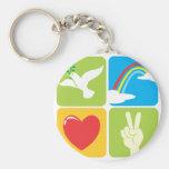 Symbols of Faith Hope Love and Peace Basic Round Button Keychain