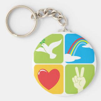 Symbols of Faith Hope Love and Peace Keychain