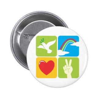 Symbols of Faith Hope Love and Peace Pinback Button