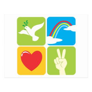 Symbols of Faith Hope Love and Peace Postcard