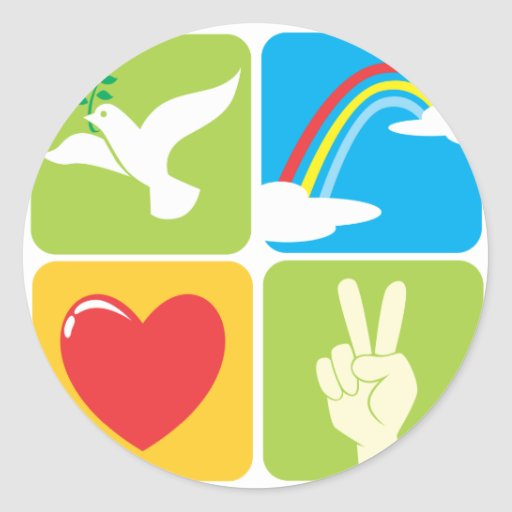 Symbols of Faith Hope Love and Peace Classic Round Sticker