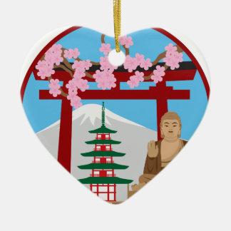 Symbols of Japan in Circle Illustration Ceramic Ornament