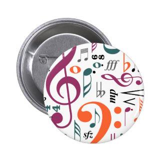 Symbols of Music Pinback Button