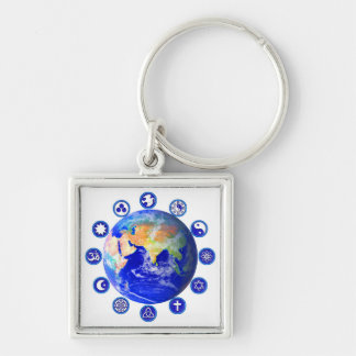 Symbols of Peace and Unity Around Planet Earth Keychain