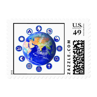 Symbols of Peace and Unity Around Planet Earth Stamp