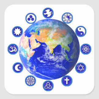 Symbols of Peace and Unity Around Planet Earth Square Stickers