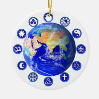 Symbols of peace, unity and religion ceramic ornament