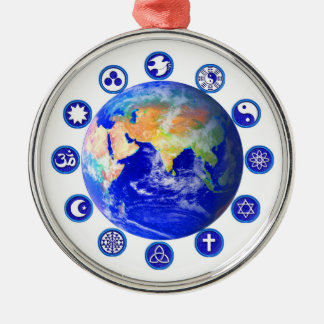 Symbols of peace, unity and religion metal ornament