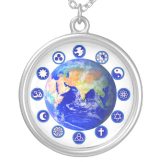 Symbols of Peace & Unity Around the World Silver Plated Necklace