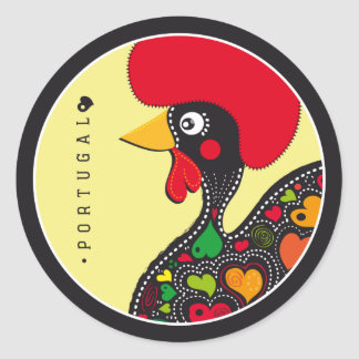 Symbols of Portugal - Rooster Classic Round Sticker