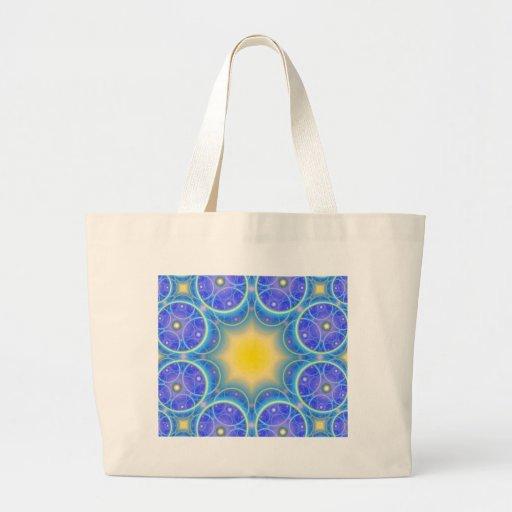 symmetric circles happy and joy symbol tote bags