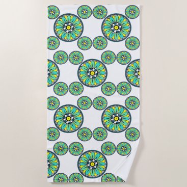 Aztec Themed Symmetric Overlapping Mint Green Art Deco Beach Towel