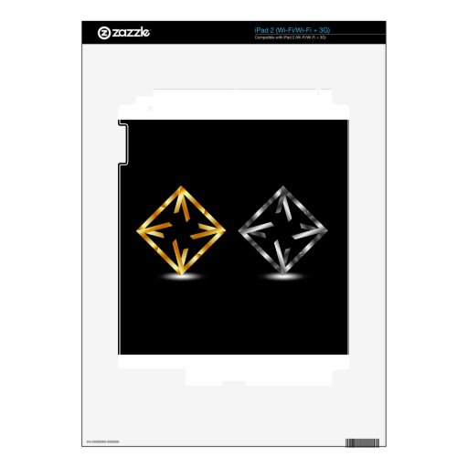 Symmetric square in gold and silver colors iPad 2 skin
