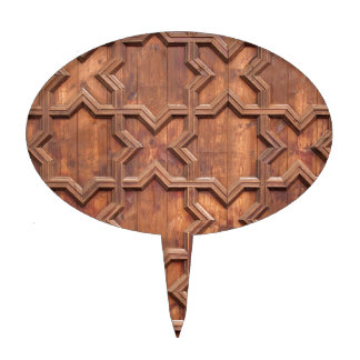 Symmetrical Abstract Pattern Lines in Wood Cake Topper
