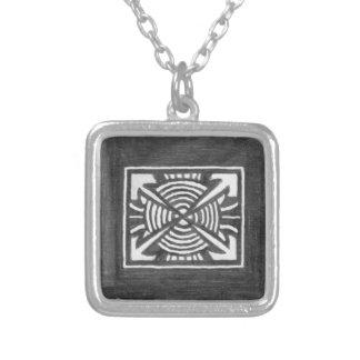 Symmetrical Black & White Design Silver Necklace
