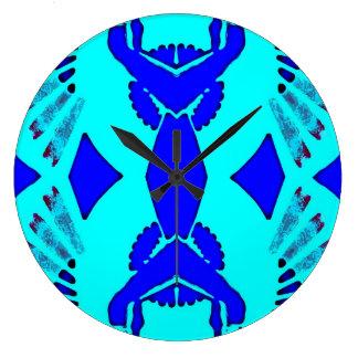 Symmetrical Blue Shaded Pattern Clocks