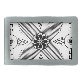 Symmetrical Indonesian Textile Flower Pattern Rectangular Belt Buckle