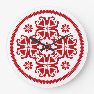 Symmetrical Red Design Wallclock