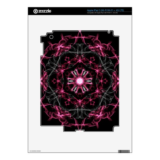 Symmetrical Ruby Kaleidoscope Decals For iPad 3