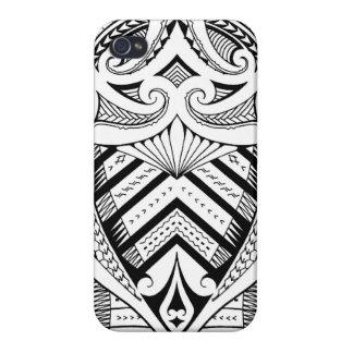 Symmetrical Samoan tattoo design with Maori koru iPhone 4 Case