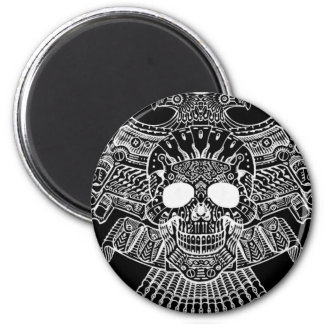 Symmetrical Skull with Guns and bullets by Al Rio 2 Inch Round Magnet
