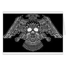 skull, skulls, gun, guns, bullet, bullets, design, art, al rio, rap, Card with custom graphic design