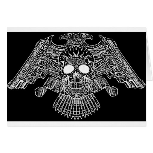 Symmetrical Skull with Guns and bullets by Al Rio Greeting Card