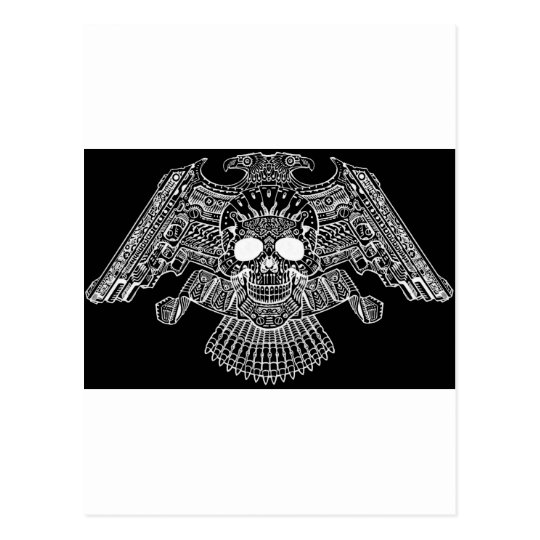 Symmetrical Skull with Guns and bullets by Al Rio Postcard