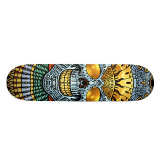 Symmetrical Skull with Guns and bullets by Al Rio Skateboard Deck