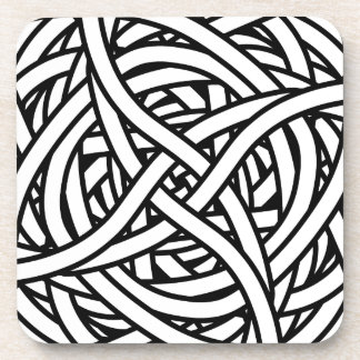 Symmetrical weave design in black and white coaster