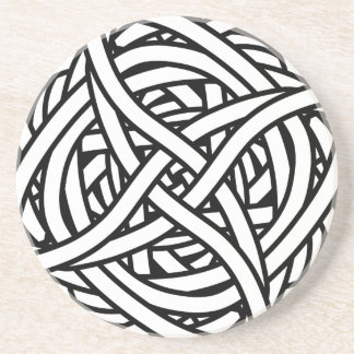 Symmetrical weave design in black and white drink coaster