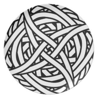 Symmetrical weave design in black and white dinner plates