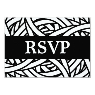 Symmetrical weave design in black and white RSVP Card