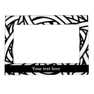 Symmetrical weave design in black white magnetic picture frame
