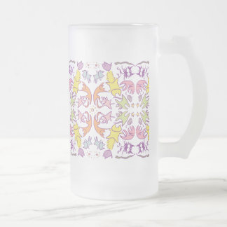 Symmetry Pastelcolor Cute Cats Frosted Glass Beer Mug