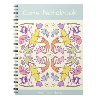 Symmetry Pastelcolor Cute Cats Notebook